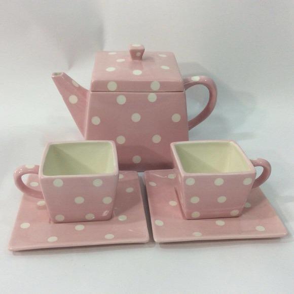 polka dot teapot glass earring